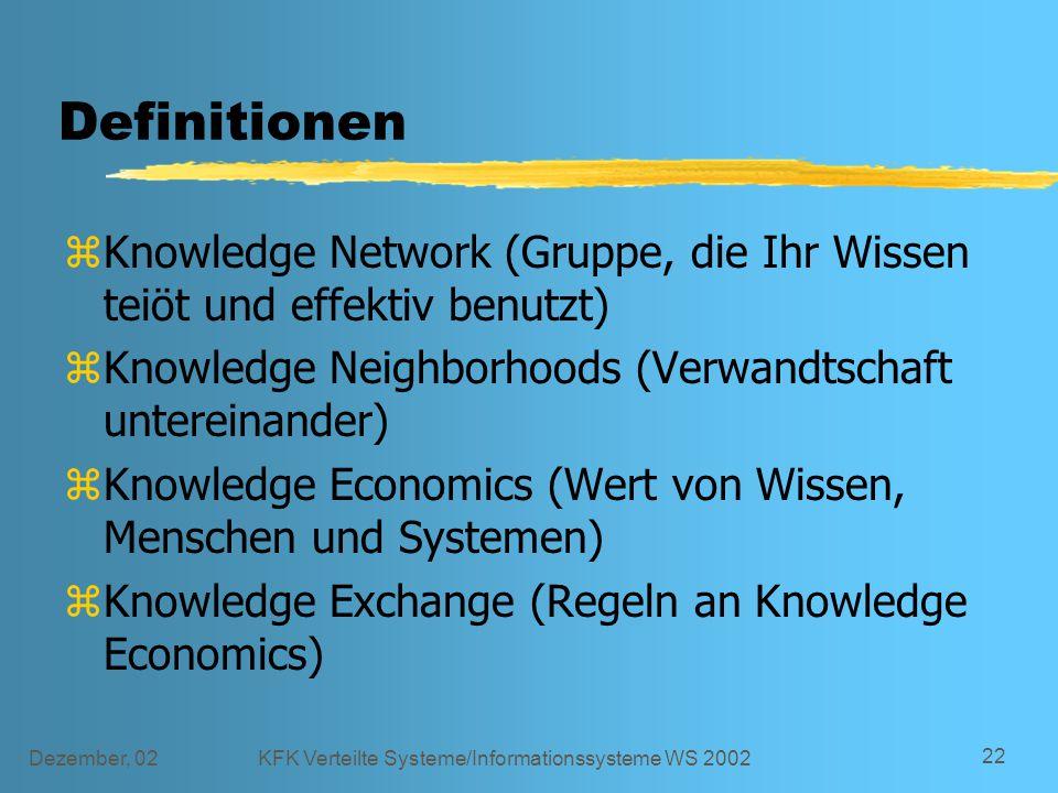 Dezember, 02KFK Verteilte Systeme/Informationssysteme WS 2002 22 Definitionen zKnowledge Network (Gruppe, die Ihr Wissen teiöt und effektiv benutzt) z