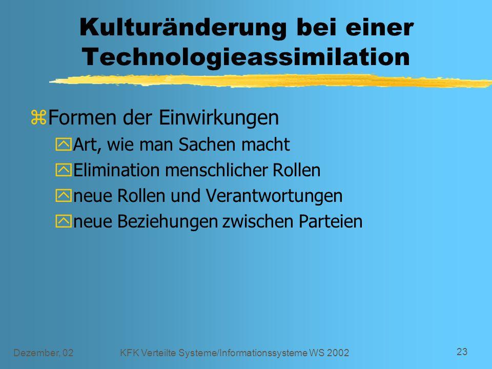 Dezember, 02KFK Verteilte Systeme/Informationssysteme WS 2002 23 Kulturänderung bei einer Technologieassimilation zFormen der Einwirkungen yArt, wie m