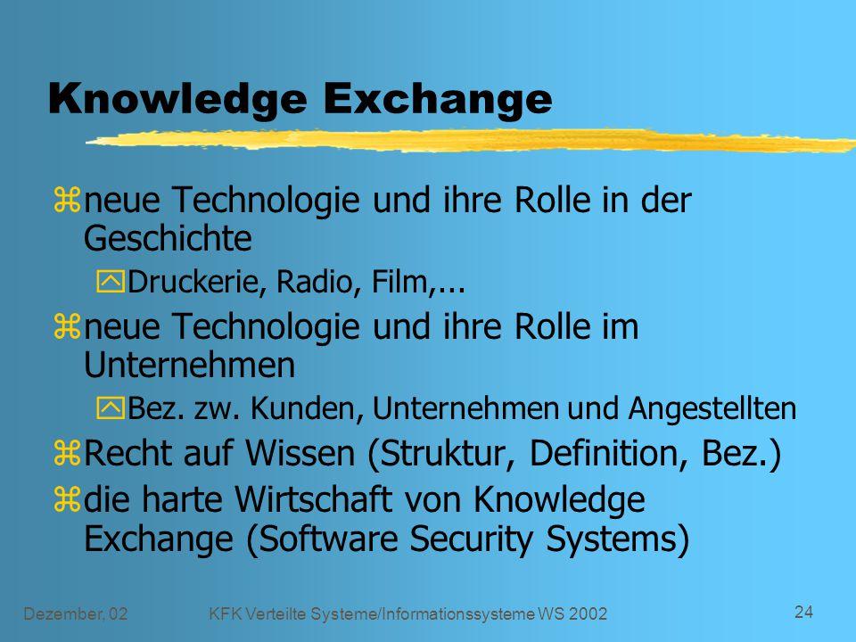 Dezember, 02KFK Verteilte Systeme/Informationssysteme WS 2002 24 Knowledge Exchange zneue Technologie und ihre Rolle in der Geschichte yDruckerie, Radio, Film,...