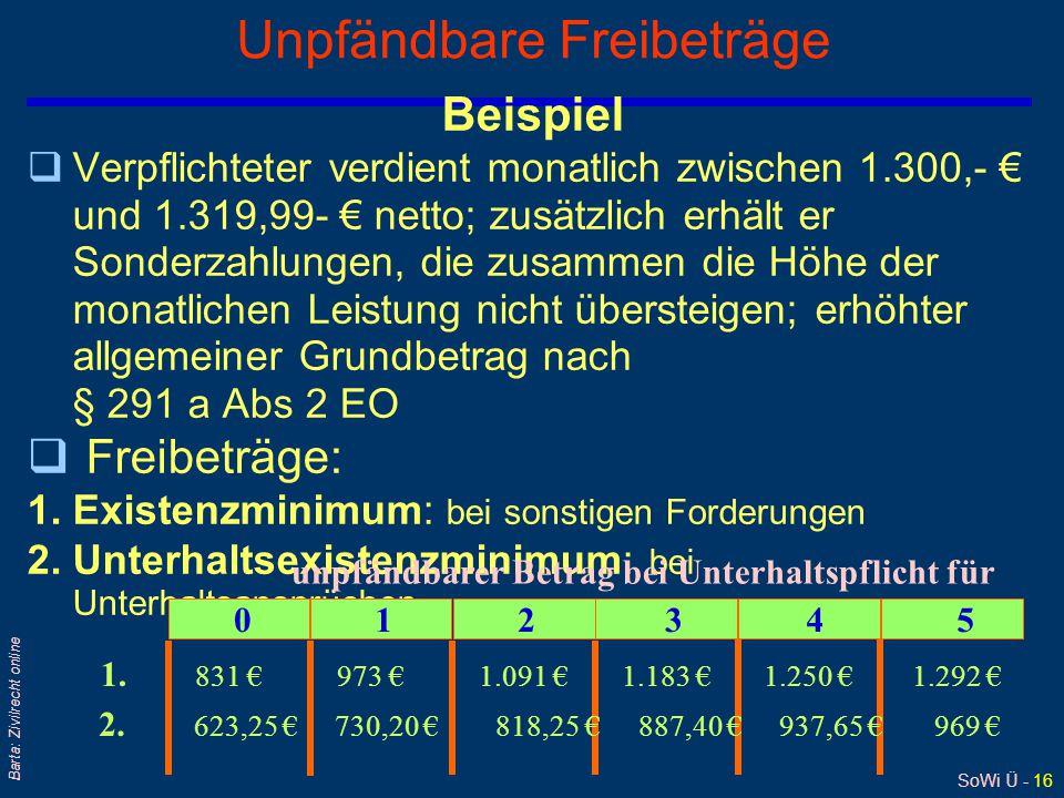 SoWi Ü - 16 Barta: Zivilrecht online Unpfändbare Freibeträge Beispiel qVerpflichteter verdient monatlich zwischen 1.300,- € und 1.319,99- € netto; zus