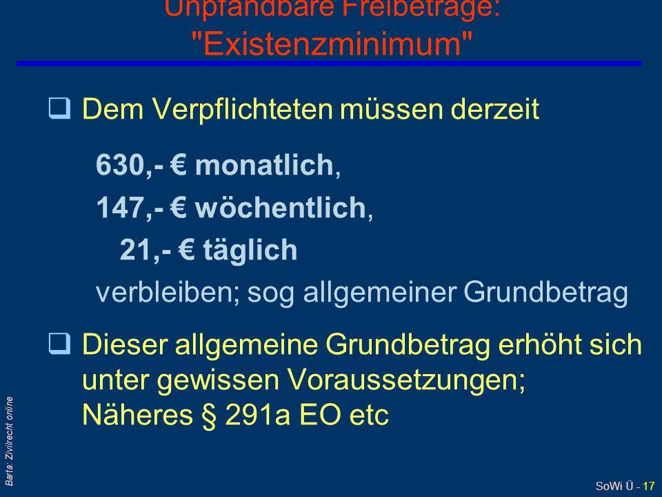 SoWi Ü - 17 Barta: Zivilrecht online Unpfändbare Freibeträge: