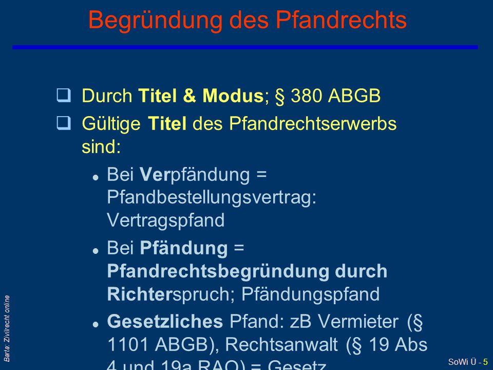 SoWi Ü - 5 Barta: Zivilrecht online Begründung des Pfandrechts qDurch Titel & Modus; § 380 ABGB qGültige Titel des Pfandrechtserwerbs sind: l Bei Verp