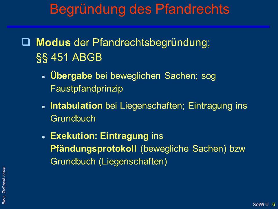SoWi Ü - 6 Barta: Zivilrecht online Begründung des Pfandrechts qModus der Pfandrechtsbegründung; §§ 451 ABGB l Übergabe bei beweglichen Sachen; sog Fa