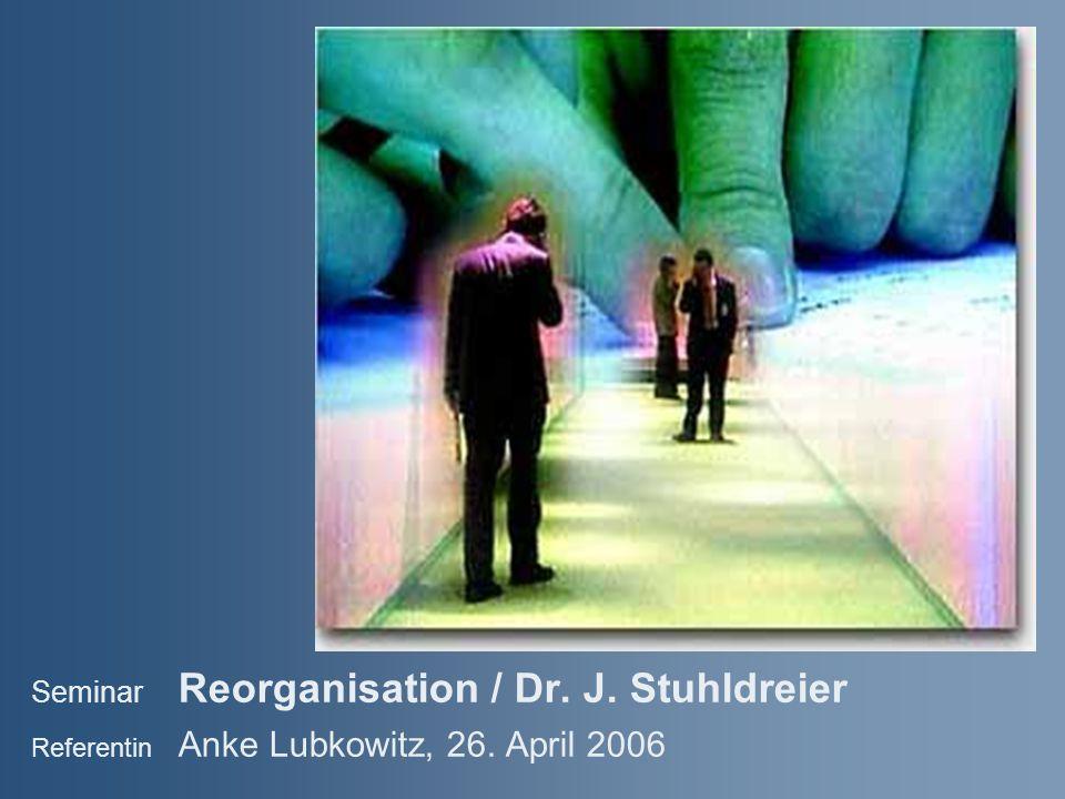 Seminar Reorganisation / Dr. J. Stuhldreier Referentin Anke Lubkowitz, 26. April 2006