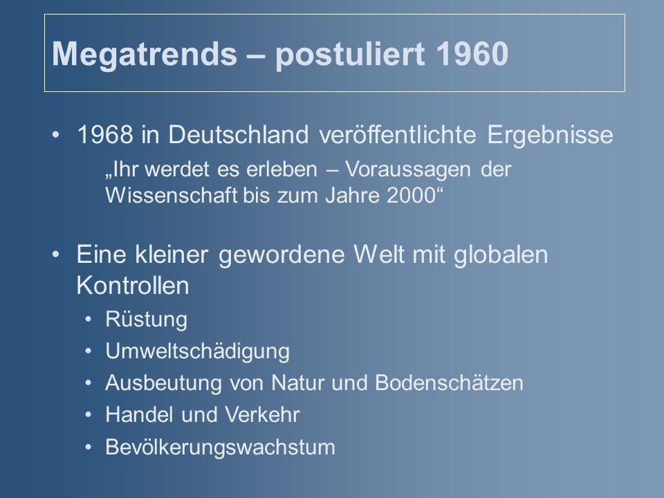 """Megatrends – postuliert 1960 1968 in Deutschland veröffentlichte Ergebnisse """"Ihr werdet es erleben – Voraussagen der Wissenschaft bis zum Jahre 2000"""""""