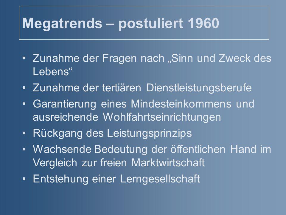 """Megatrends – postuliert 1960 Zunahme der Fragen nach """"Sinn und Zweck des Lebens"""" Zunahme der tertiären Dienstleistungsberufe Garantierung eines Mindes"""