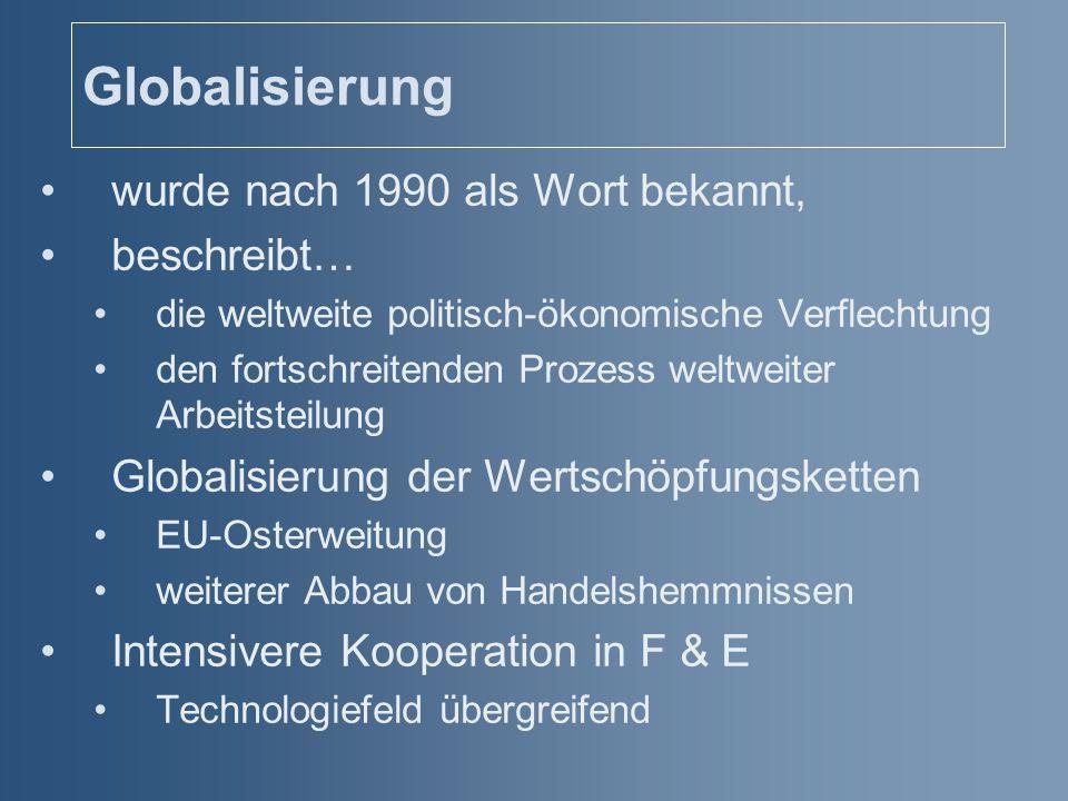 Globalisierung wurde nach 1990 als Wort bekannt, beschreibt… die weltweite politisch-ökonomische Verflechtung den fortschreitenden Prozess weltweiter