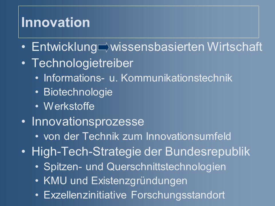 Innovation Entwicklung wissensbasierten Wirtschaft Technologietreiber Informations- u. Kommunikationstechnik Biotechnologie Werkstoffe Innovationsproz