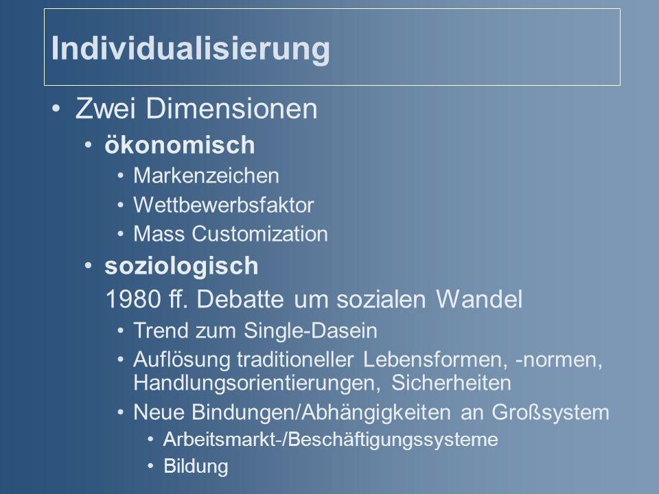 Individualisierung Zwei Dimensionen ökonomisch Markenzeichen Wettbewerbsfaktor Mass Customization soziologisch 1980 ff. Debatte um sozialen Wandel Tre