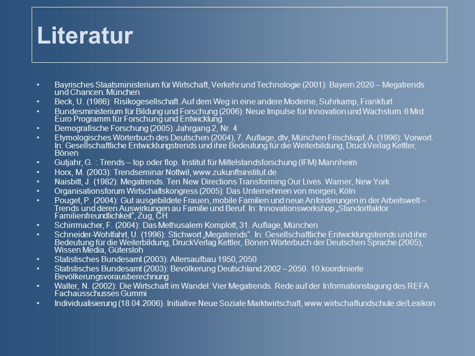 Literatur Bayrisches Staatsministerium für Wirtschaft, Verkehr und Technologie (2001): Bayern 2020 – Megatrends und Chancen. München Beck, U. (1986):