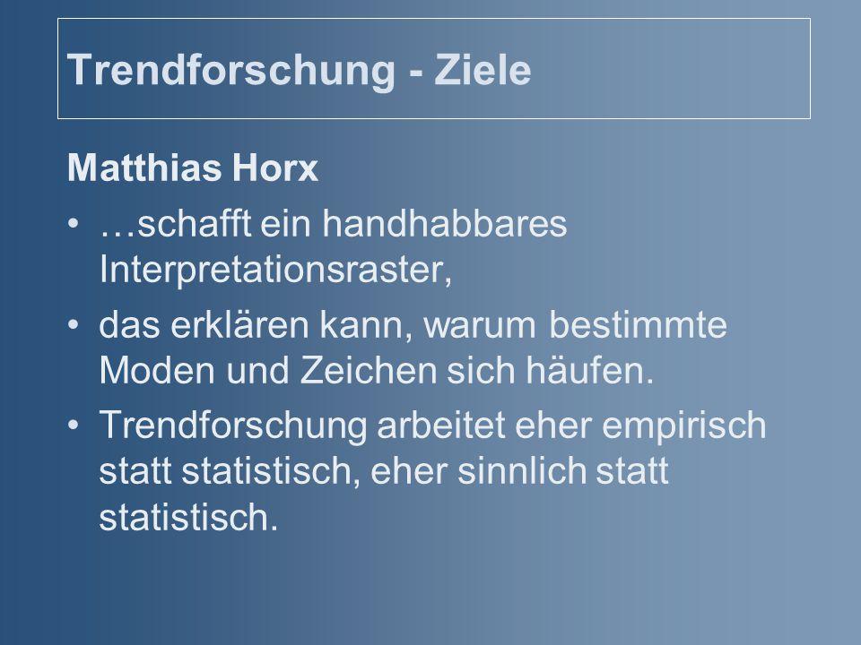Trendforschung - Ziele Matthias Horx …schafft ein handhabbares Interpretationsraster, das erklären kann, warum bestimmte Moden und Zeichen sich häufen