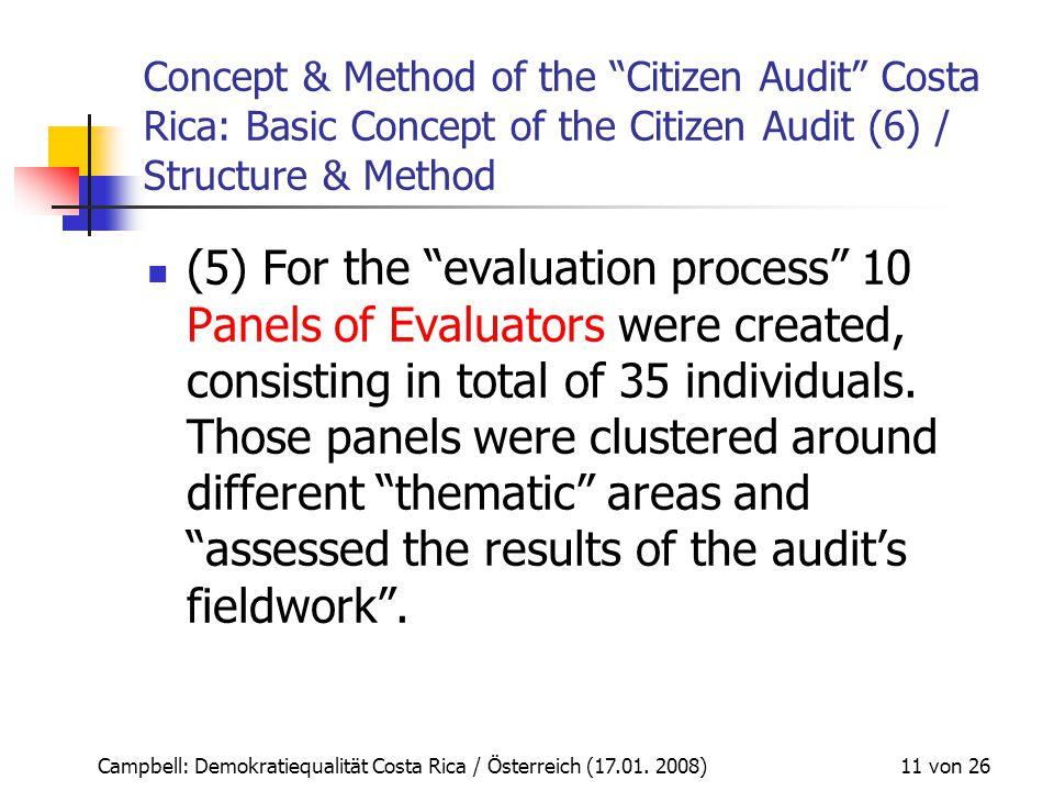 """Campbell: Demokratiequalität Costa Rica / Österreich (17.01. 2008) 11 von 26 Concept & Method of the """"Citizen Audit"""" Costa Rica: Basic Concept of the"""