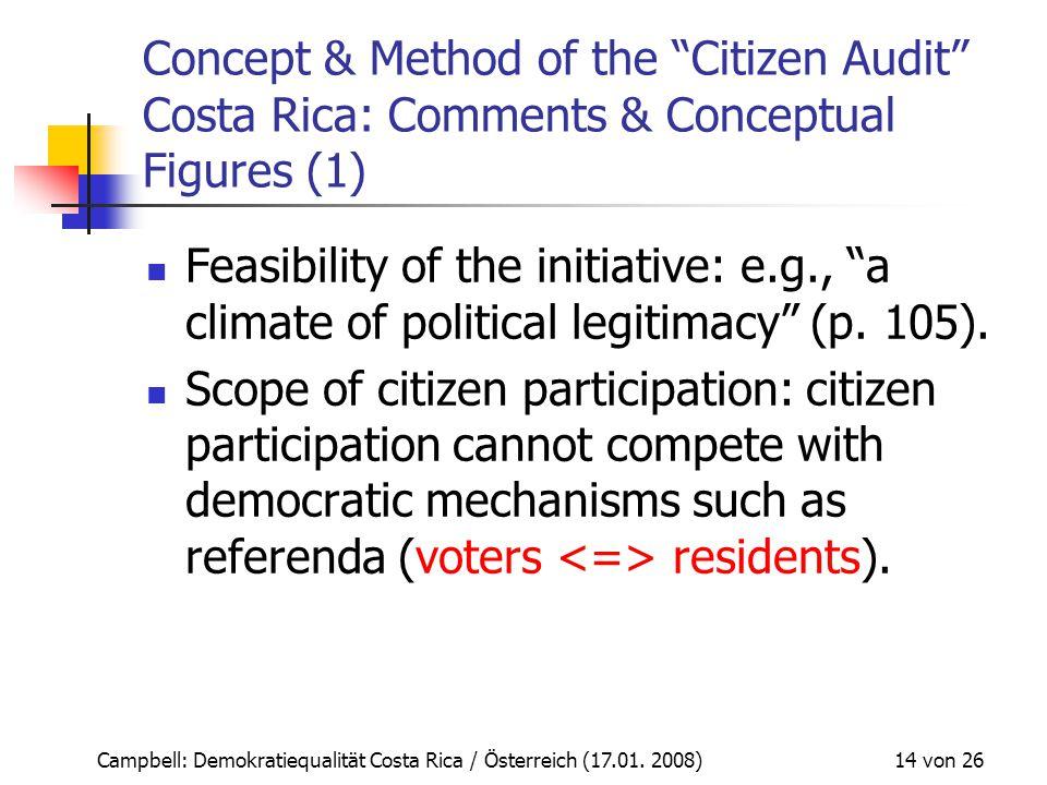 "Campbell: Demokratiequalität Costa Rica / Österreich (17.01. 2008) 14 von 26 Concept & Method of the ""Citizen Audit"" Costa Rica: Comments & Conceptual"
