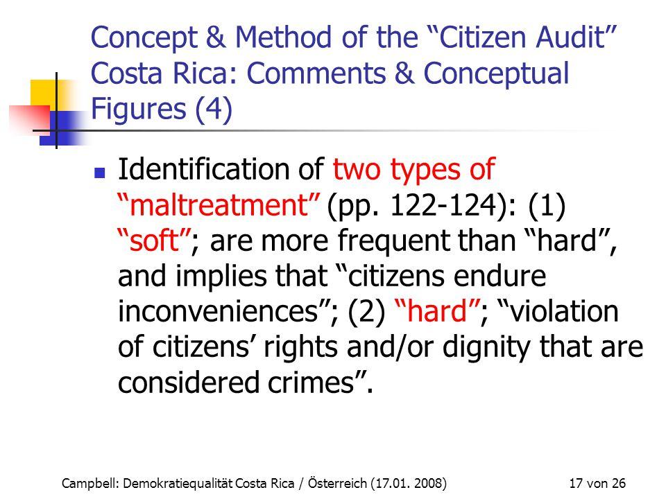 "Campbell: Demokratiequalität Costa Rica / Österreich (17.01. 2008) 17 von 26 Concept & Method of the ""Citizen Audit"" Costa Rica: Comments & Conceptual"