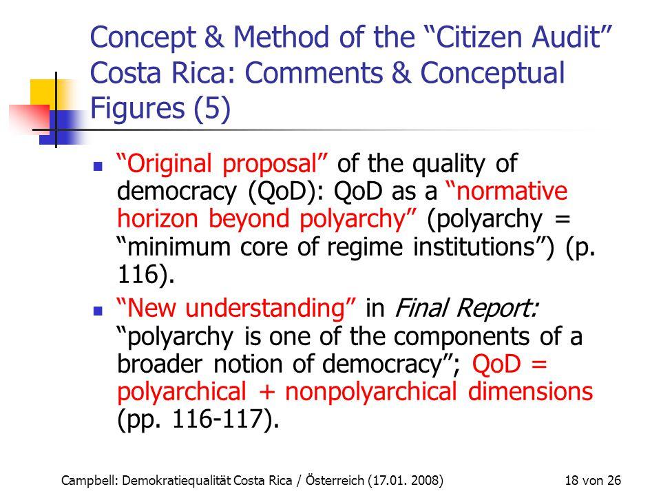 "Campbell: Demokratiequalität Costa Rica / Österreich (17.01. 2008) 18 von 26 Concept & Method of the ""Citizen Audit"" Costa Rica: Comments & Conceptual"