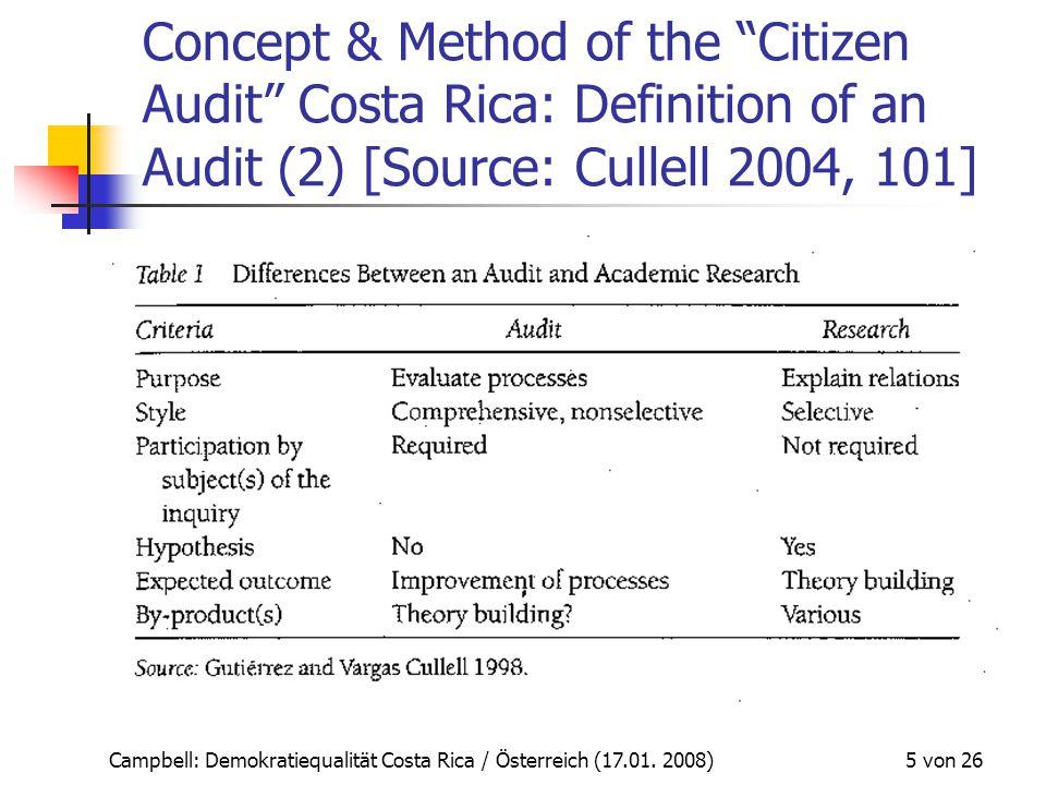 """Campbell: Demokratiequalität Costa Rica / Österreich (17.01. 2008) 5 von 26 Concept & Method of the """"Citizen Audit"""" Costa Rica: Definition of an Audit"""