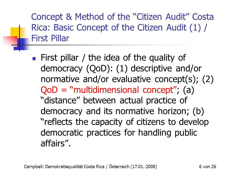 """Campbell: Demokratiequalität Costa Rica / Österreich (17.01. 2008) 6 von 26 Concept & Method of the """"Citizen Audit"""" Costa Rica: Basic Concept of the C"""
