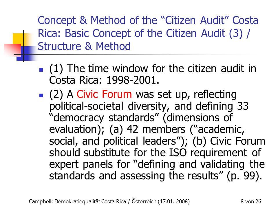 """Campbell: Demokratiequalität Costa Rica / Österreich (17.01. 2008) 8 von 26 Concept & Method of the """"Citizen Audit"""" Costa Rica: Basic Concept of the C"""