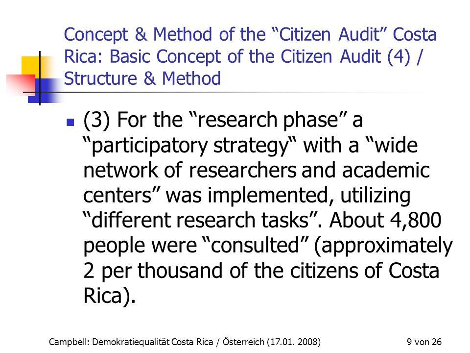 """Campbell: Demokratiequalität Costa Rica / Österreich (17.01. 2008) 9 von 26 Concept & Method of the """"Citizen Audit"""" Costa Rica: Basic Concept of the C"""