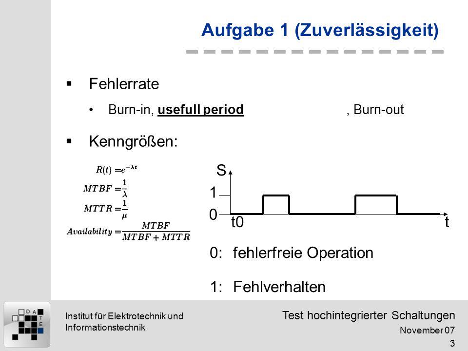 Test hochintegrierter Schaltungen November 07 4 Institut für Elektrotechnik und Informationstechnik Aufgabe 1 (Zuverlässigkeit)