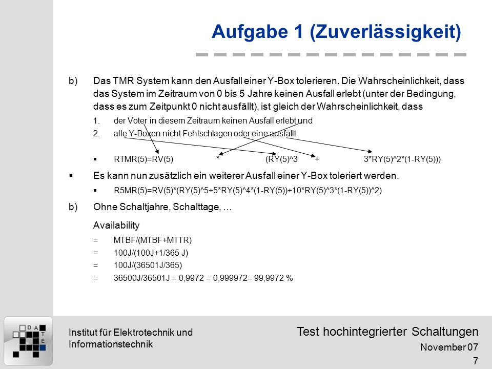 Test hochintegrierter Schaltungen November 07 8 Institut für Elektrotechnik und Informationstechnik Aufgabe 2 (Ausbeute)  Ausbeute  Modellierung