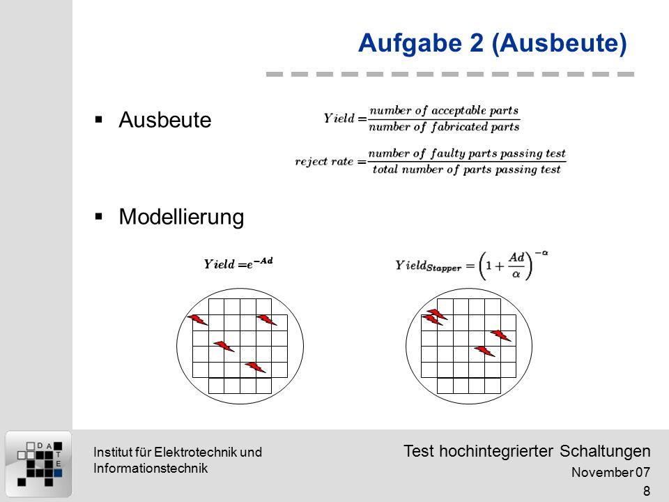 Test hochintegrierter Schaltungen November 07 9 Institut für Elektrotechnik und Informationstechnik Aufgabe 2 (Ausbeute)