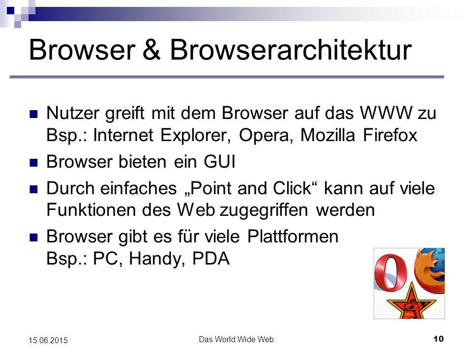 """Das World Wide Web10 15.06.2015 Browser & Browserarchitektur Nutzer greift mit dem Browser auf das WWW zu Bsp.: Internet Explorer, Opera, Mozilla Firefox Browser bieten ein GUI Durch einfaches """"Point and Click kann auf viele Funktionen des Web zugegriffen werden Browser gibt es für viele Plattformen Bsp.: PC, Handy, PDA"""