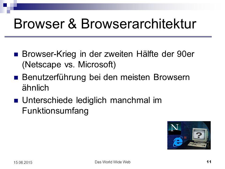 Das World Wide Web11 15.06.2015 Browser & Browserarchitektur Browser-Krieg in der zweiten Hälfte der 90er (Netscape vs.