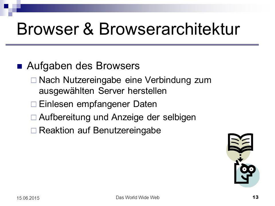 Das World Wide Web13 15.06.2015 Browser & Browserarchitektur Aufgaben des Browsers  Nach Nutzereingabe eine Verbindung zum ausgewählten Server herstellen  Einlesen empfangener Daten  Aufbereitung und Anzeige der selbigen  Reaktion auf Benutzereingabe