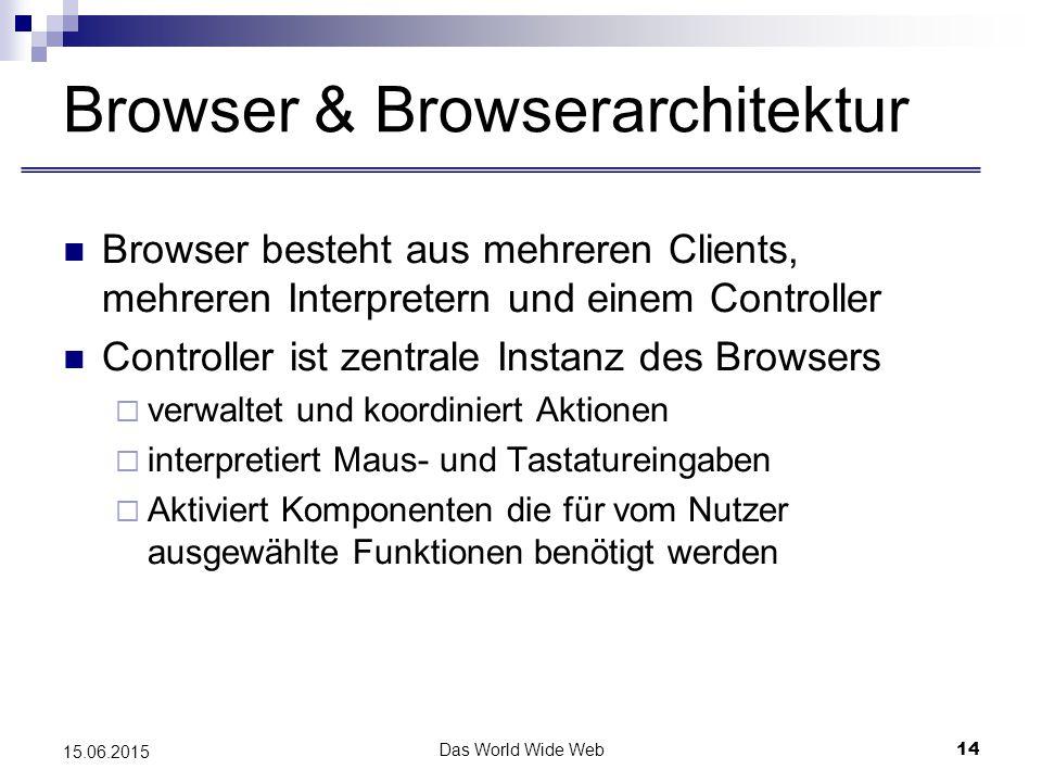 Das World Wide Web14 15.06.2015 Browser & Browserarchitektur Browser besteht aus mehreren Clients, mehreren Interpretern und einem Controller Controller ist zentrale Instanz des Browsers  verwaltet und koordiniert Aktionen  interpretiert Maus- und Tastatureingaben  Aktiviert Komponenten die für vom Nutzer ausgewählte Funktionen benötigt werden