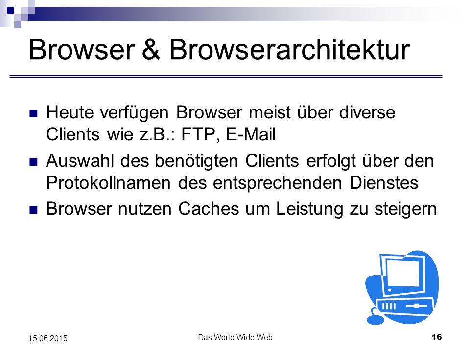 Das World Wide Web16 15.06.2015 Browser & Browserarchitektur Heute verfügen Browser meist über diverse Clients wie z.B.: FTP, E-Mail Auswahl des benötigten Clients erfolgt über den Protokollnamen des entsprechenden Dienstes Browser nutzen Caches um Leistung zu steigern
