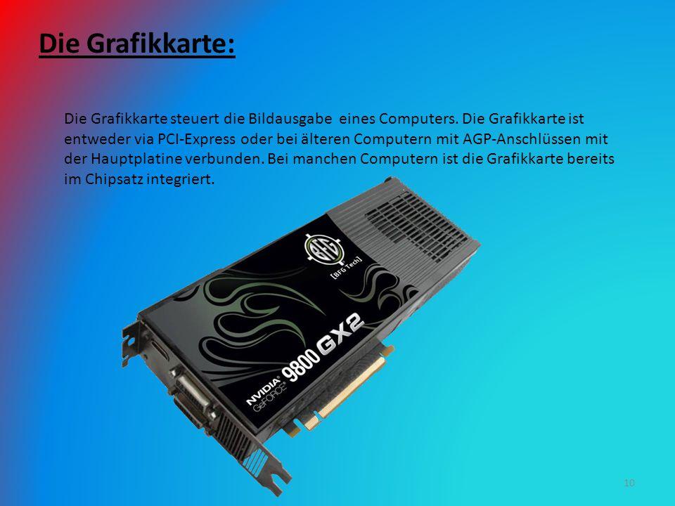 Die Grafikkarte: Die Grafikkarte steuert die Bildausgabe eines Computers. Die Grafikkarte ist entweder via PCI-Express oder bei älteren Computern mit