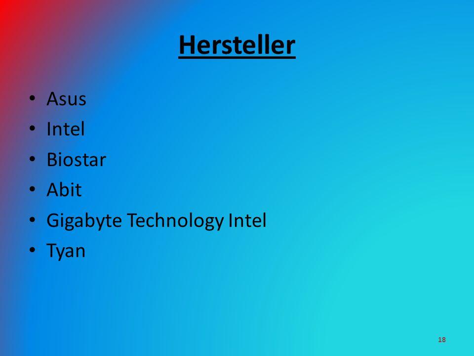 Hersteller Asus Intel Biostar Abit Gigabyte Technology Intel Tyan 18