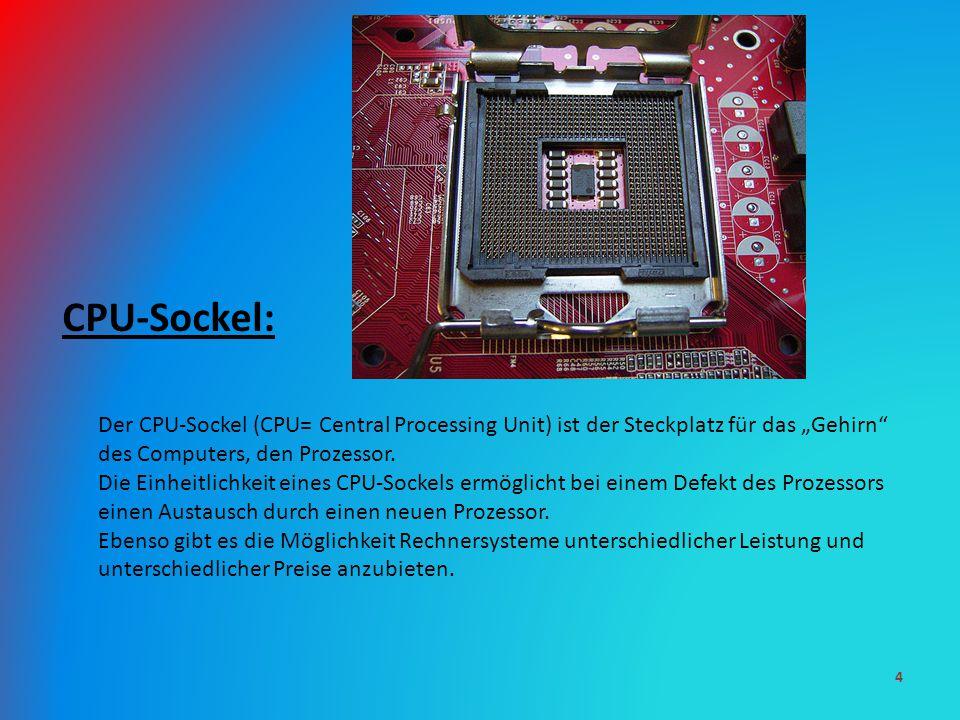"""CPU-Sockel: Der CPU-Sockel (CPU= Central Processing Unit) ist der Steckplatz für das """"Gehirn"""" des Computers, den Prozessor. Die Einheitlichkeit eines"""