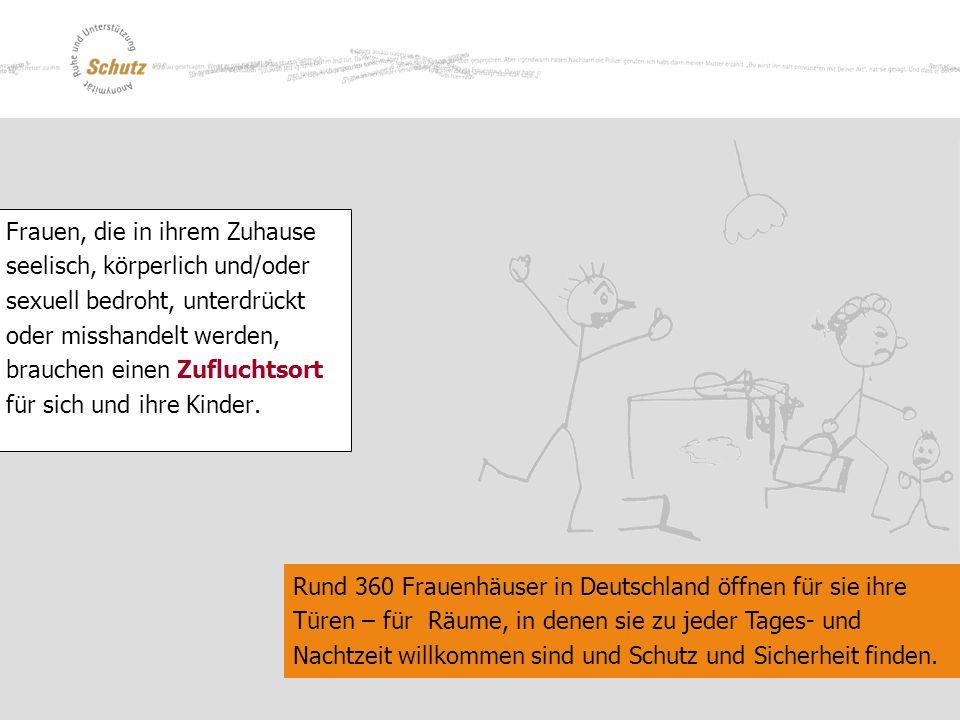 Rund 360 Frauenhäuser in Deutschland öffnen für sie ihre Türen – für Räume, in denen sie zu jeder Tages- und Nachtzeit willkommen sind und Schutz und