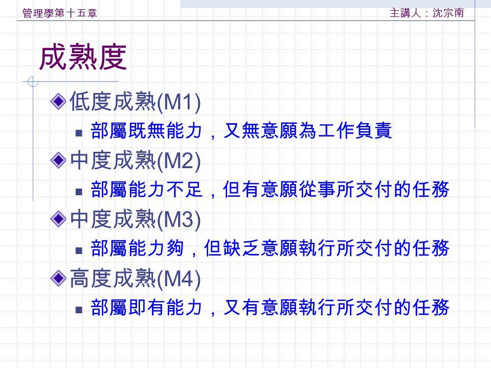 管理學第十五章 主講人:沈宗南 成熟度 低度成熟 (M1) 部屬既無能力,又無意願為工作負責 中度成熟 (M2) 部屬能力不足,但有意願從事所交付的任務 中度成熟 (M3) 部屬能力夠,但缺乏意願執行所交付的任務 高度成熟 (M4) 部屬即有能力,又有意願執行所交付的任務