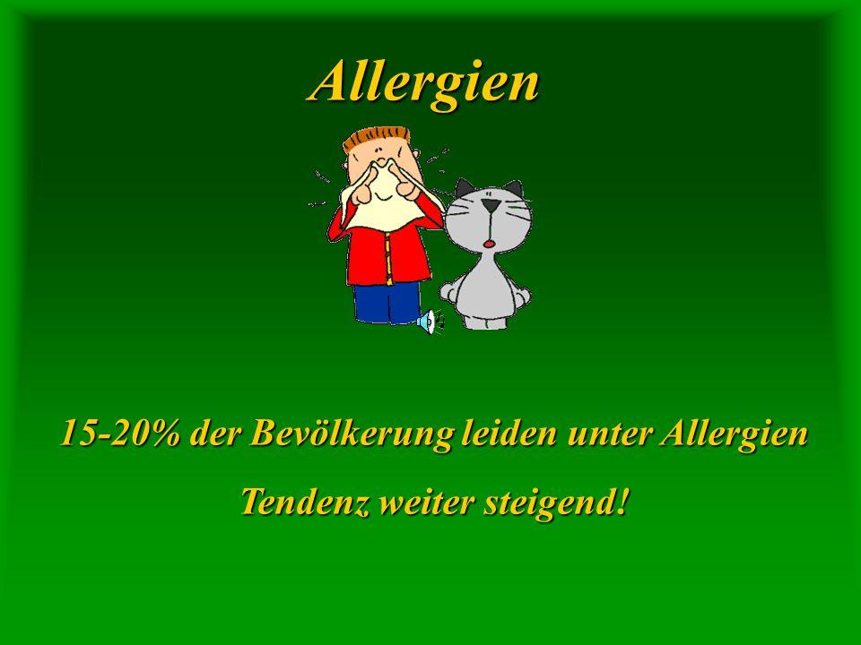 Allergien 15-20% der Bevölkerung leiden unter Allergien Tendenz weiter steigend!