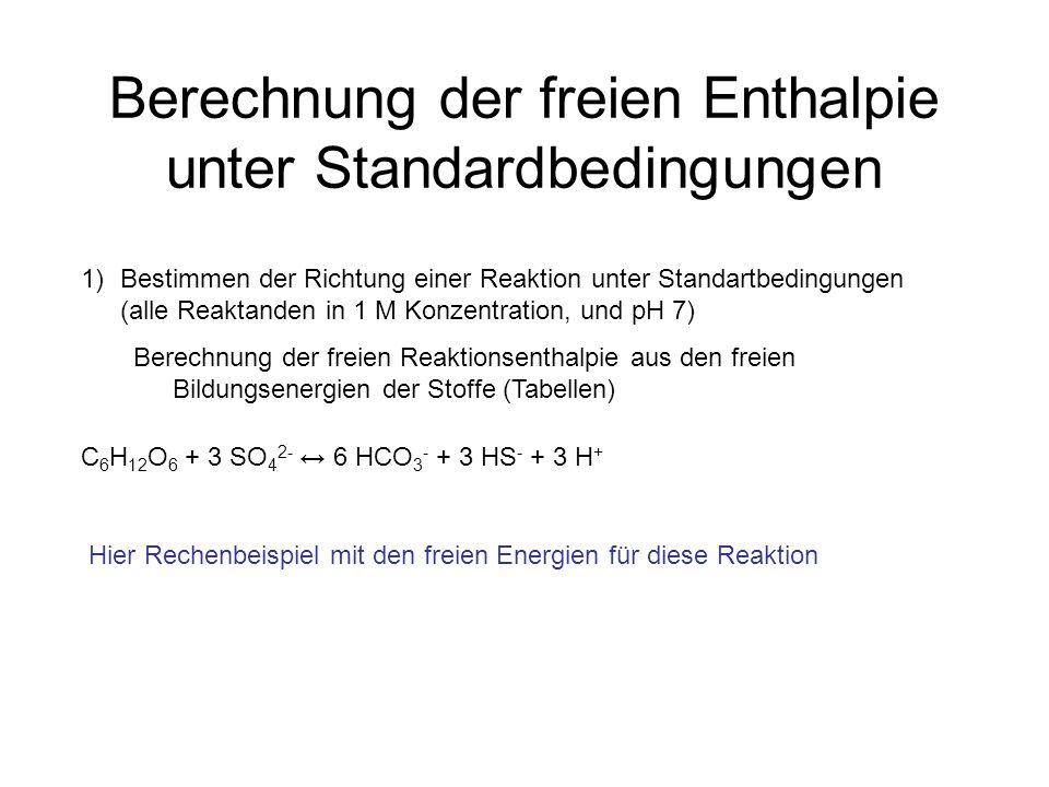 Berechnung der freien Enthalpie unter Standardbedingungen C 6 H 12 O 6 + 3 SO 4 2- ↔ 6 HCO 3 - + 3 HS - + 3 H + 1)Bestimmen der Richtung einer Reaktio