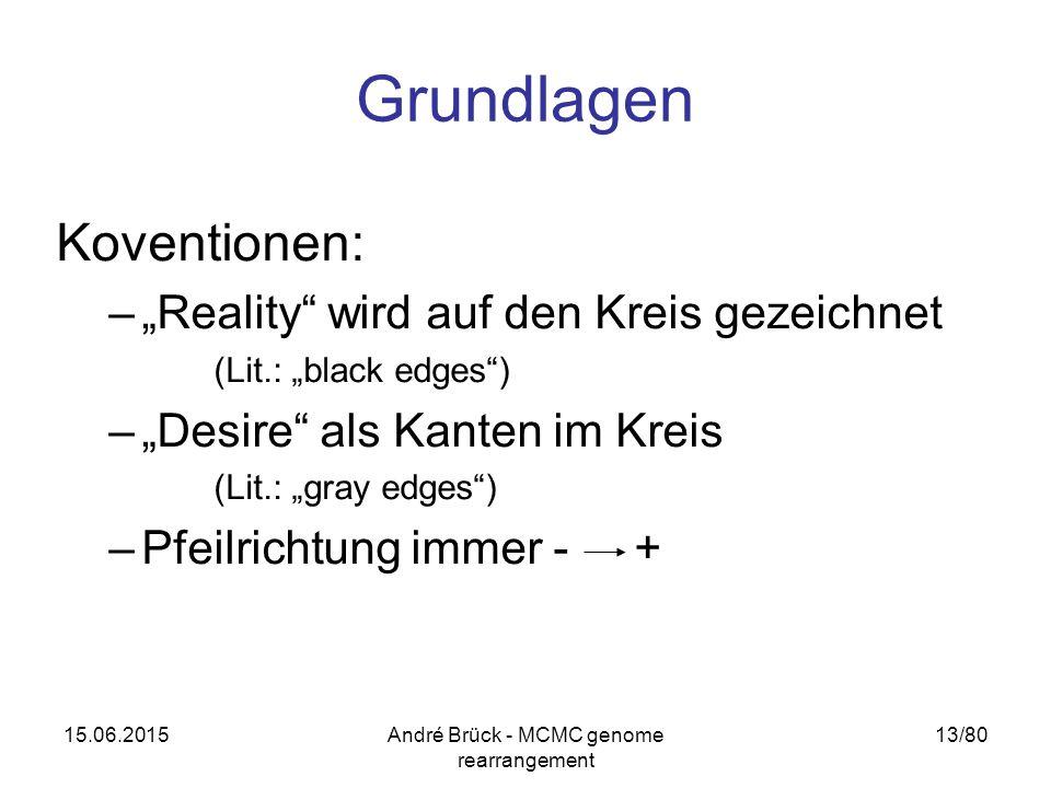 """15.06.2015André Brück - MCMC genome rearrangement 13/80 Grundlagen Koventionen: –""""Reality wird auf den Kreis gezeichnet (Lit.: """"black edges ) –""""Desire als Kanten im Kreis (Lit.: """"gray edges ) –Pfeilrichtung immer - +"""