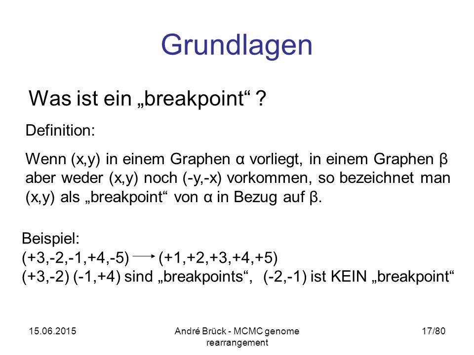 """15.06.2015André Brück - MCMC genome rearrangement 17/80 Grundlagen Was ist ein """"breakpoint"""" ? Definition: Wenn (x,y) in einem Graphen α vorliegt, in e"""