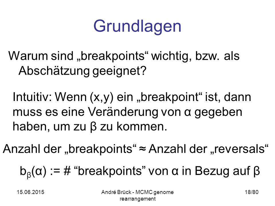 """15.06.2015André Brück - MCMC genome rearrangement 18/80 Grundlagen Warum sind """"breakpoints"""" wichtig, bzw. als Abschätzung geeignet? Intuitiv: Wenn (x,"""