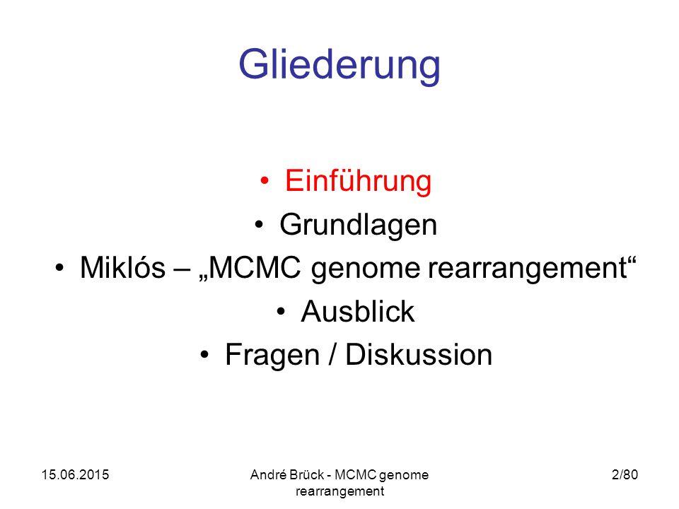 "15.06.2015André Brück - MCMC genome rearrangement 2/80 Gliederung Einführung Grundlagen Miklós – ""MCMC genome rearrangement Ausblick Fragen / Diskussion"