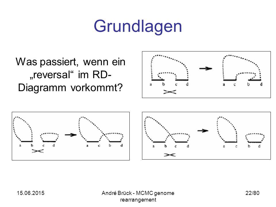 """15.06.2015André Brück - MCMC genome rearrangement 22/80 Grundlagen Was passiert, wenn ein """"reversal"""" im RD- Diagramm vorkommt?"""