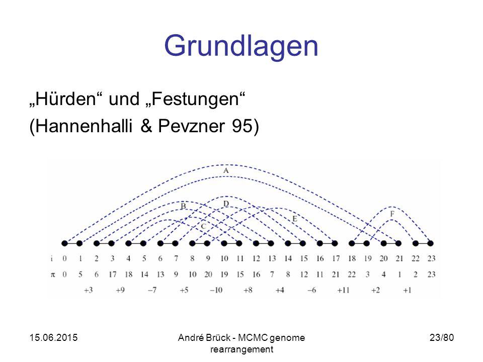 """15.06.2015André Brück - MCMC genome rearrangement 23/80 Grundlagen """"Hürden und """"Festungen (Hannenhalli & Pevzner 95)"""
