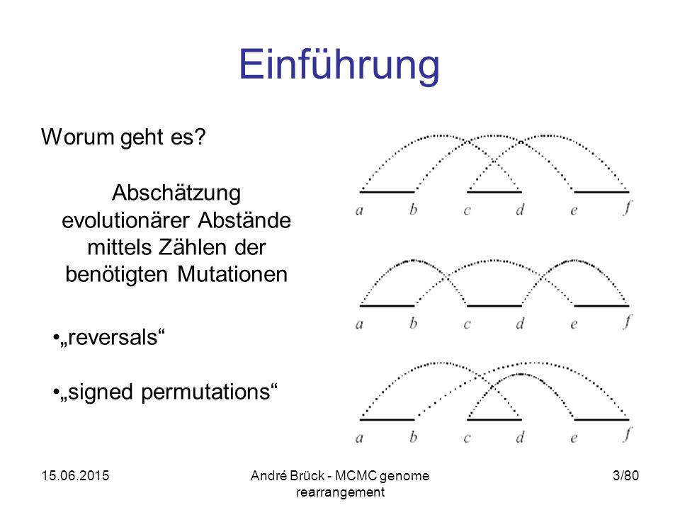 15.06.2015André Brück - MCMC genome rearrangement 3/80 Einführung Worum geht es? Abschätzung evolutionärer Abstände mittels Zählen der benötigten Muta