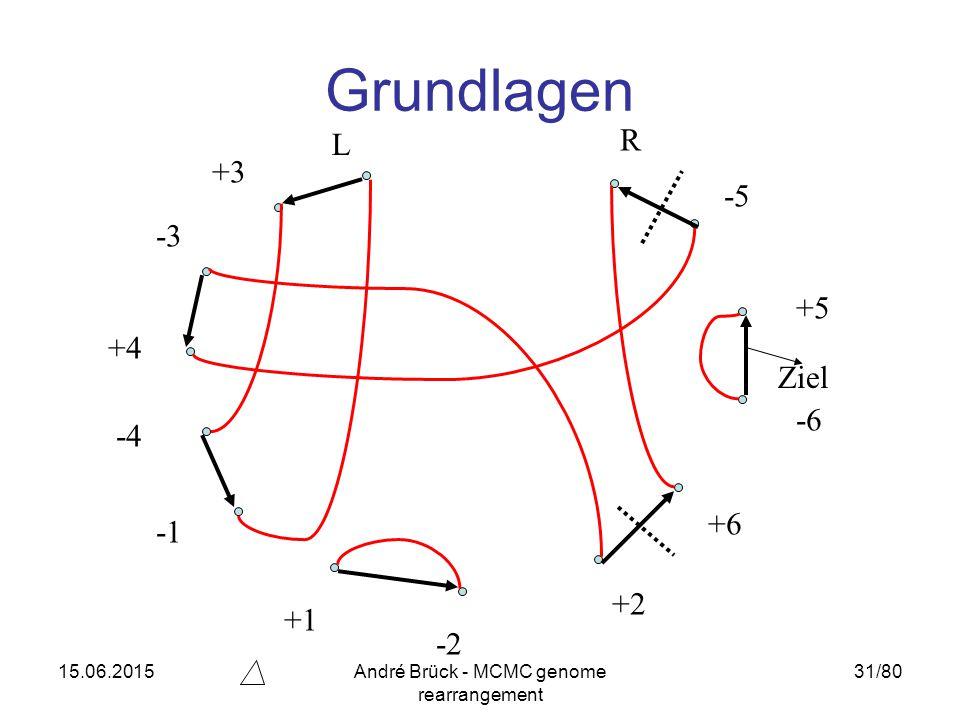 15.06.2015André Brück - MCMC genome rearrangement 31/80 Grundlagen L -3 +3 +4 -6 -5 +5 R -4 +2 +6 -2 +1 Ziel