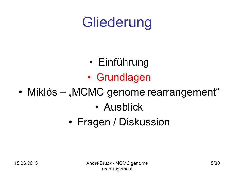 "15.06.2015André Brück - MCMC genome rearrangement 5/80 Gliederung Einführung Grundlagen Miklós – ""MCMC genome rearrangement Ausblick Fragen / Diskussion"