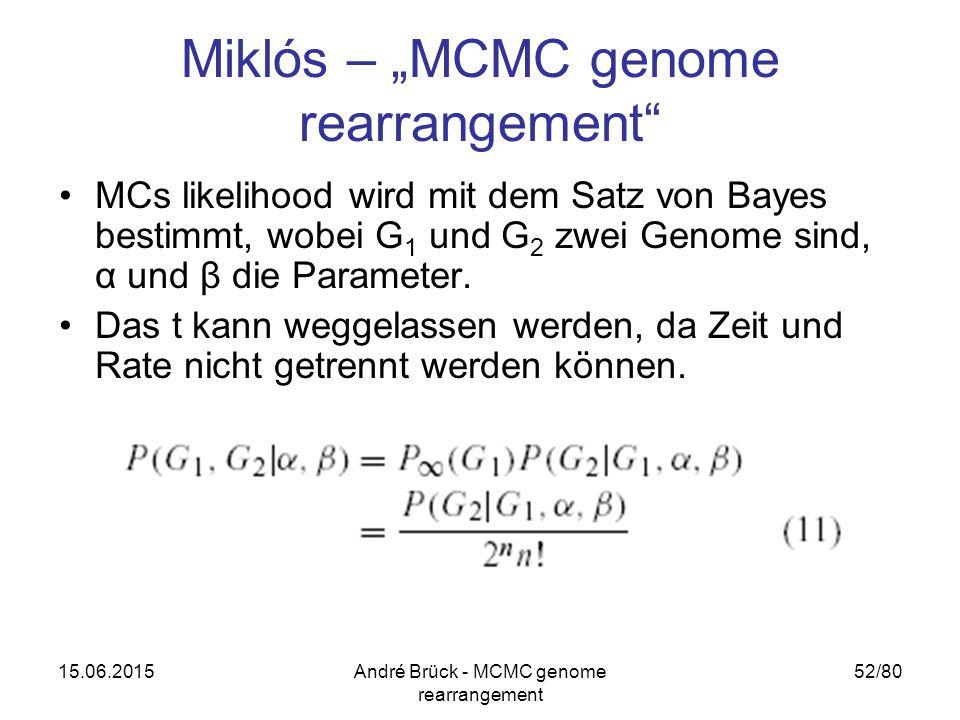 """15.06.2015André Brück - MCMC genome rearrangement 52/80 Miklós – """"MCMC genome rearrangement MCs likelihood wird mit dem Satz von Bayes bestimmt, wobei G 1 und G 2 zwei Genome sind, α und β die Parameter."""