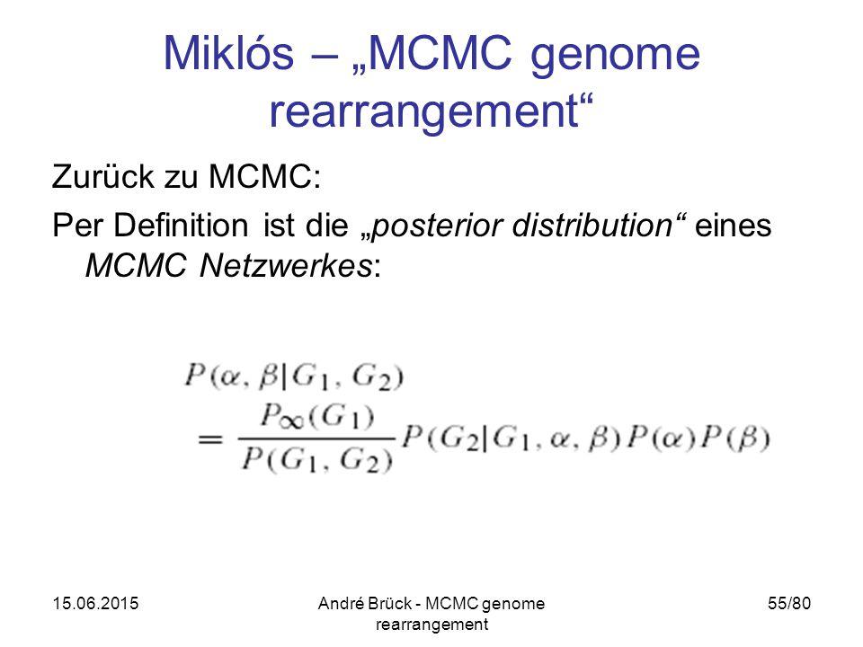 """15.06.2015André Brück - MCMC genome rearrangement 55/80 Miklós – """"MCMC genome rearrangement Zurück zu MCMC: Per Definition ist die """"posterior distribution eines MCMC Netzwerkes:"""