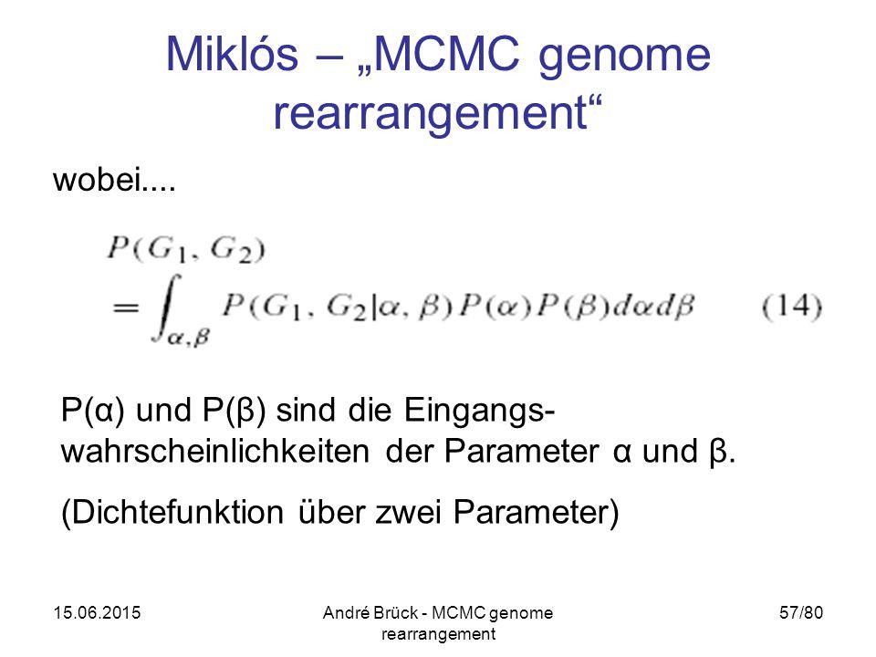 """15.06.2015André Brück - MCMC genome rearrangement 57/80 Miklós – """"MCMC genome rearrangement"""" wobei.... P(α) und P(β) sind die Eingangs- wahrscheinlich"""